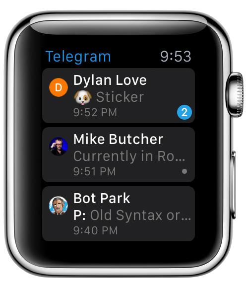 мессенджер телеграмм на Apple Watch