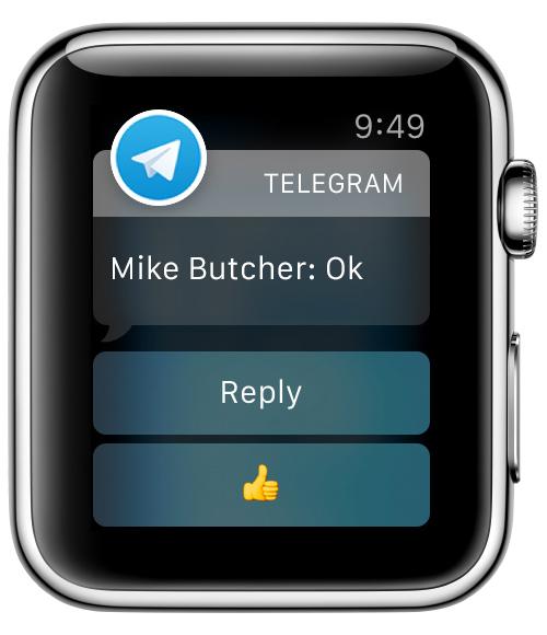 телеграмм на Apple Watch