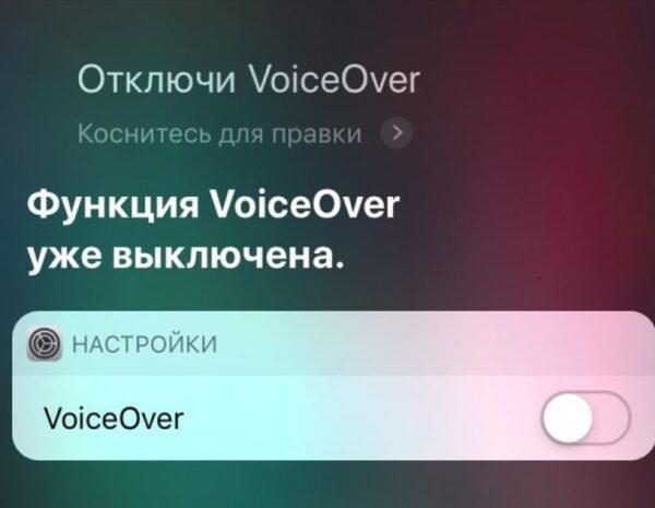 отключение функции VoiceOver